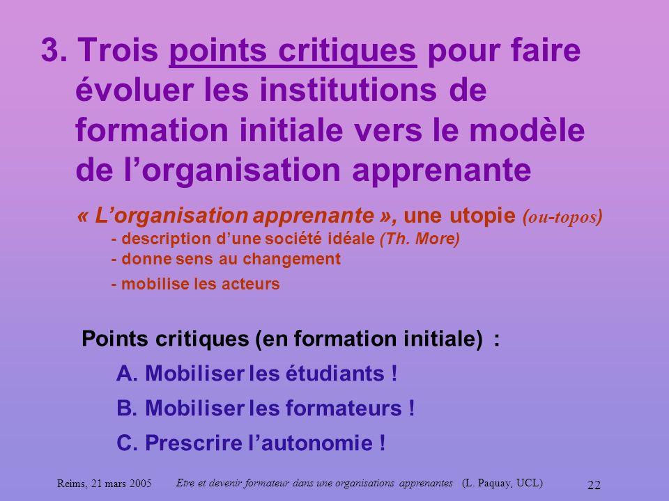 Reims, 21 mars 2005 Etre et devenir formateur dans une organisations apprenantes (L. Paquay, UCL) 22 3. Trois points critiques pour faire évoluer les