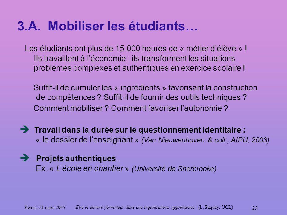 Reims, 21 mars 2005 Etre et devenir formateur dans une organisations apprenantes (L. Paquay, UCL) 23 3.A. Mobiliser les étudiants… Les étudiants ont p