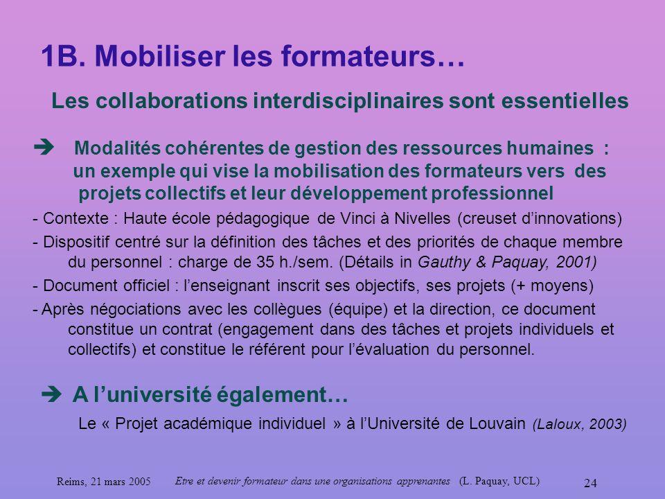 Reims, 21 mars 2005 Etre et devenir formateur dans une organisations apprenantes (L. Paquay, UCL) 24 1B. Mobiliser les formateurs… Les collaborations