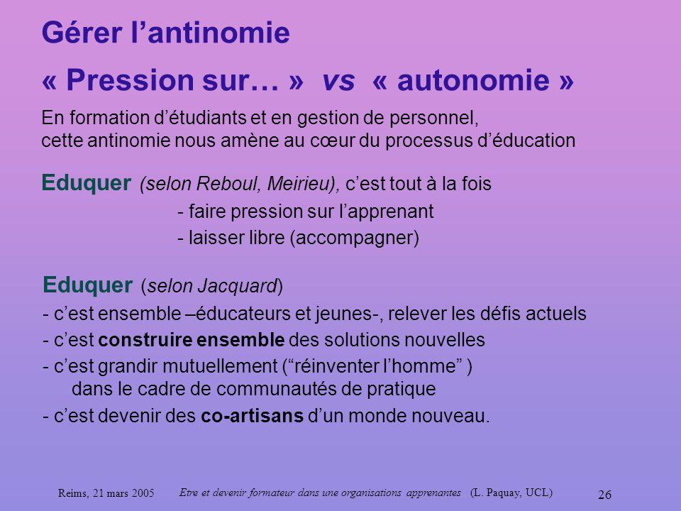 Reims, 21 mars 2005 Etre et devenir formateur dans une organisations apprenantes (L. Paquay, UCL) 26 Gérer lantinomie « Pression sur… » vs « autonomie