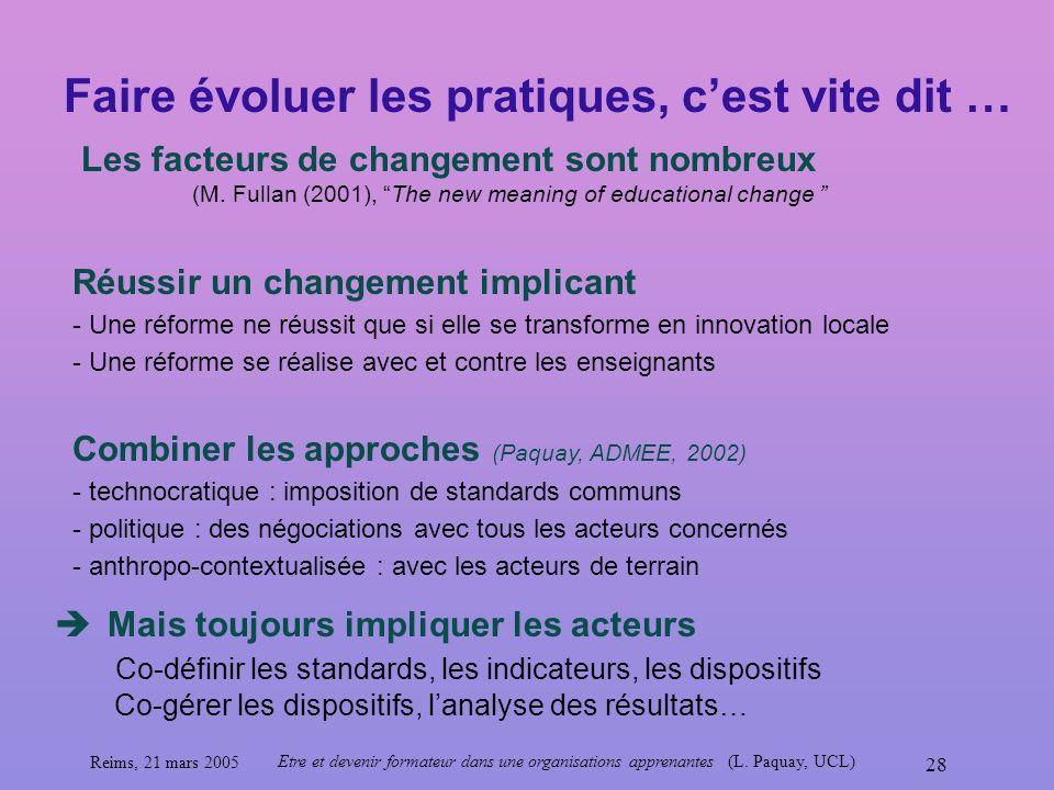 Reims, 21 mars 2005 Etre et devenir formateur dans une organisations apprenantes (L. Paquay, UCL) 28 Faire évoluer les pratiques, cest vite dit … Les