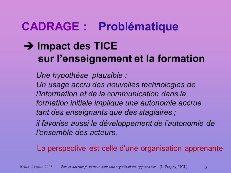 Reims, 21 mars 2005 Etre et devenir formateur dans une organisations apprenantes (L. Paquay, UCL) 3 CADRAGE : Impact des TICE sur lenseignement et la