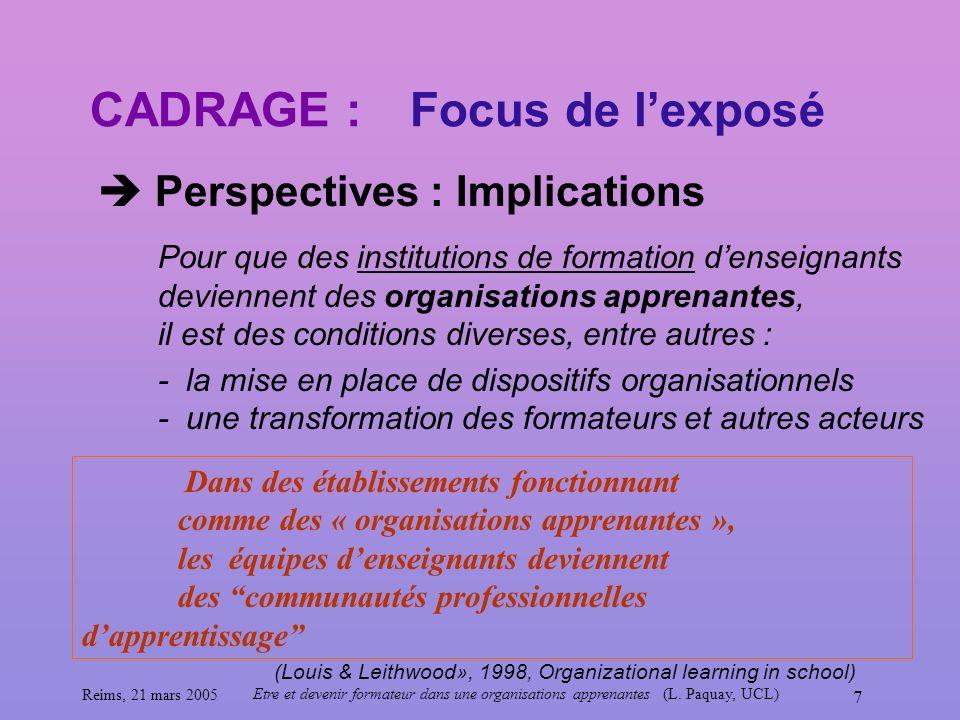 Reims, 21 mars 2005 Etre et devenir formateur dans une organisations apprenantes (L. Paquay, UCL) 7 CADRAGE : Perspectives : Implications Focus de lex