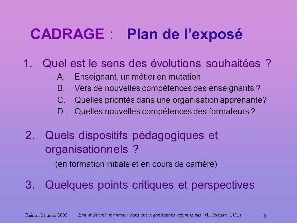 Reims, 21 mars 2005 Etre et devenir formateur dans une organisations apprenantes (L. Paquay, UCL) 8 CADRAGE : Plan de lexposé 1.Quel est le sens des é