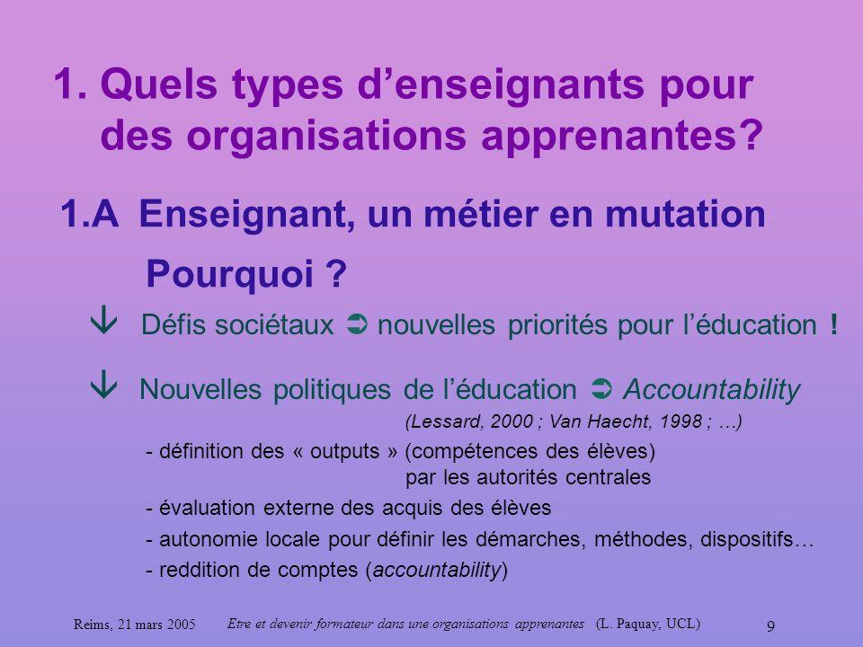 Reims, 21 mars 2005 Etre et devenir formateur dans une organisations apprenantes (L. Paquay, UCL) 9 1. Quels types denseignants pour des organisations