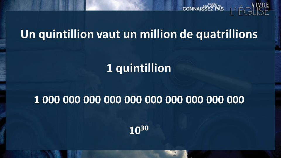 Un quintillion vaut un million de quatrillions 1 quintillion 1 000 000 000 000 000 000 000 000 000 000 10 30