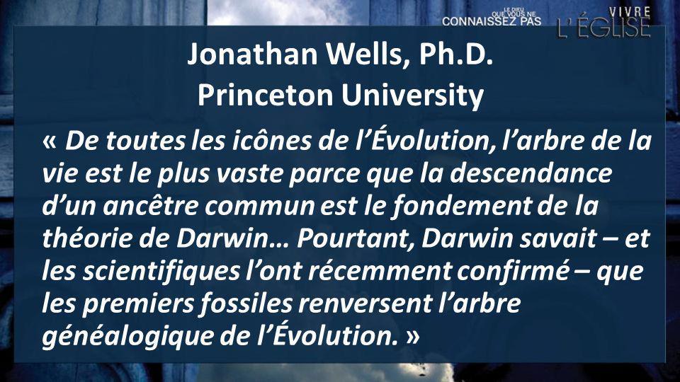Jonathan Wells, Ph.D. Princeton University « De toutes les icônes de lÉvolution, larbre de la vie est le plus vaste parce que la descendance dun ancêt