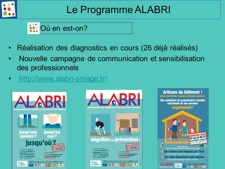 Réalisation des diagnostics en cours (26 déjà réalisés) Nouvelle campagne de communication et sensibilisation des professionnels http://www.alabri-sma