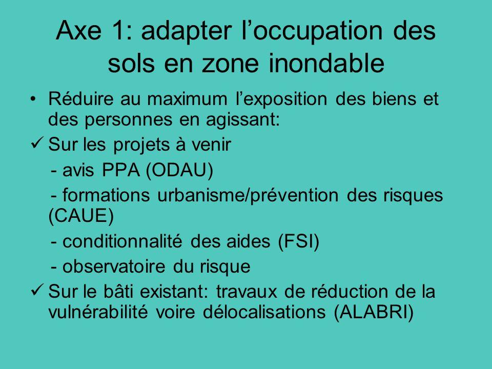 Axe 1: adapter loccupation des sols en zone inondable Réduire au maximum lexposition des biens et des personnes en agissant: Sur les projets à venir -