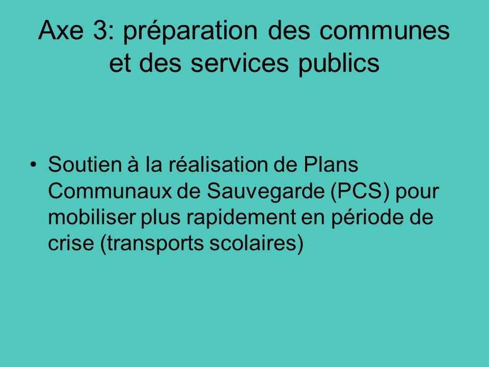 Axe 3: préparation des communes et des services publics Soutien à la réalisation de Plans Communaux de Sauvegarde (PCS) pour mobiliser plus rapidement