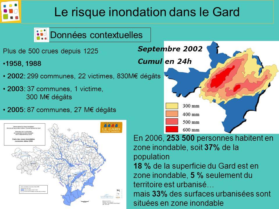 Le risque inondation dans le Gard Données contextuelles En 2006, 253 500 personnes habitent en zone inondable, soit 37% de la population 18 % de la su