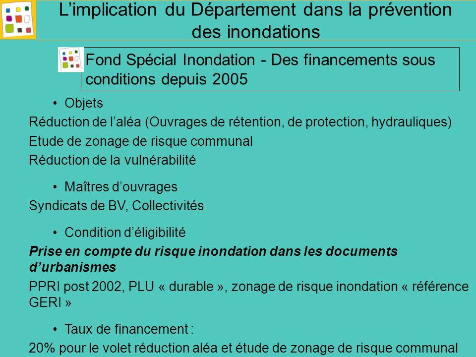 Objets Réduction de laléa (Ouvrages de rétention, de protection, hydrauliques) Etude de zonage de risque communal Réduction de la vulnérabilité Maître
