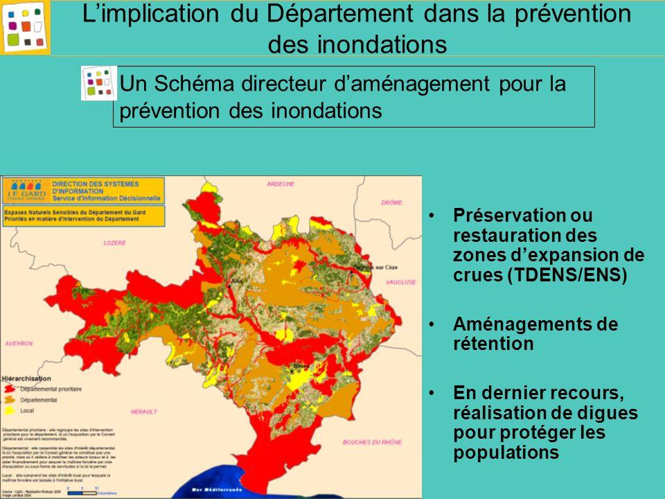 Un partenariat stratégique et financier: -Etat (Préfecture, DREAL,DDTM) -Région -Agence de leau -Département Un partenariat de mise en œuvre: Syndicats mixtes de bassin Limplication du Département dans la prévention des inondations Une mise en œuvre partenariale
