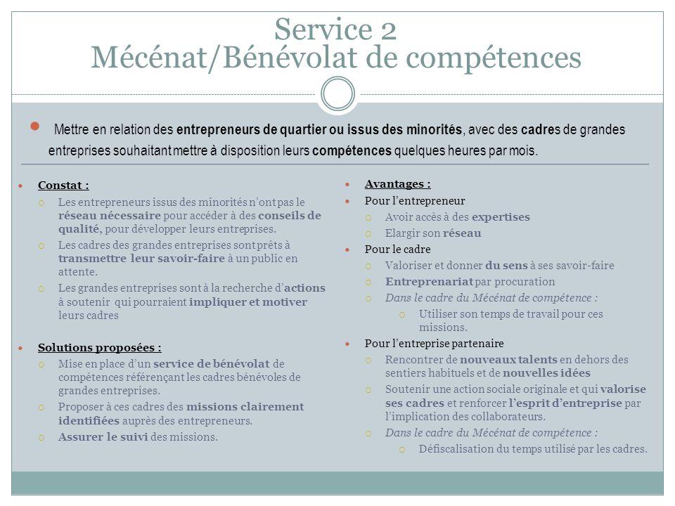 Service 2 Mécénat/Bénévolat de compétences Constat : Les entrepreneurs issus des minorités nont pas le réseau nécessaire pour accéder à des conseils de qualité, pour développer leurs entreprises.