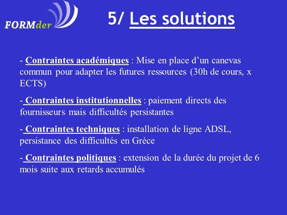 5/ Les solutions - Contraintes académiques : Mise en place dun canevas commun pour adapter les futures ressources (30h de cours, x ECTS) - Contraintes