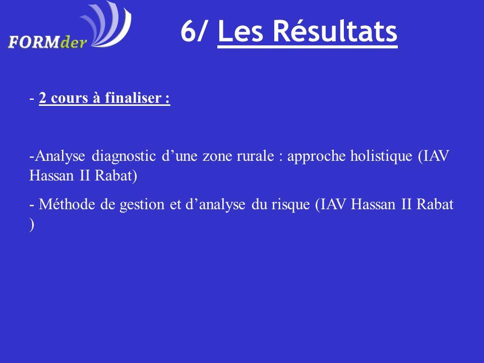 6/ Les Résultats - 2 cours à finaliser : -Analyse diagnostic dune zone rurale : approche holistique (IAV Hassan II Rabat) - Méthode de gestion et dana