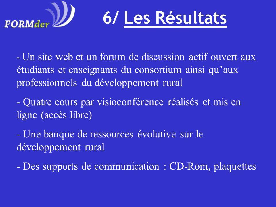6/ Les Résultats - Un site web et un forum de discussion actif ouvert aux étudiants et enseignants du consortium ainsi quaux professionnels du dévelop