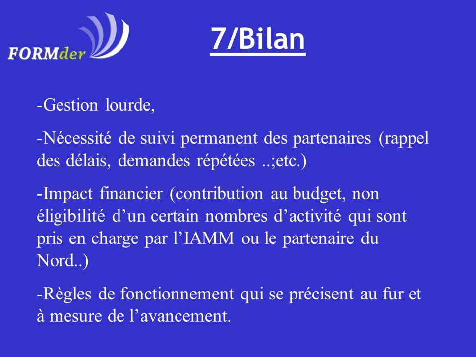 7/Bilan -Gestion lourde, -Nécessité de suivi permanent des partenaires (rappel des délais, demandes répétées..;etc.) -Impact financier (contribution a