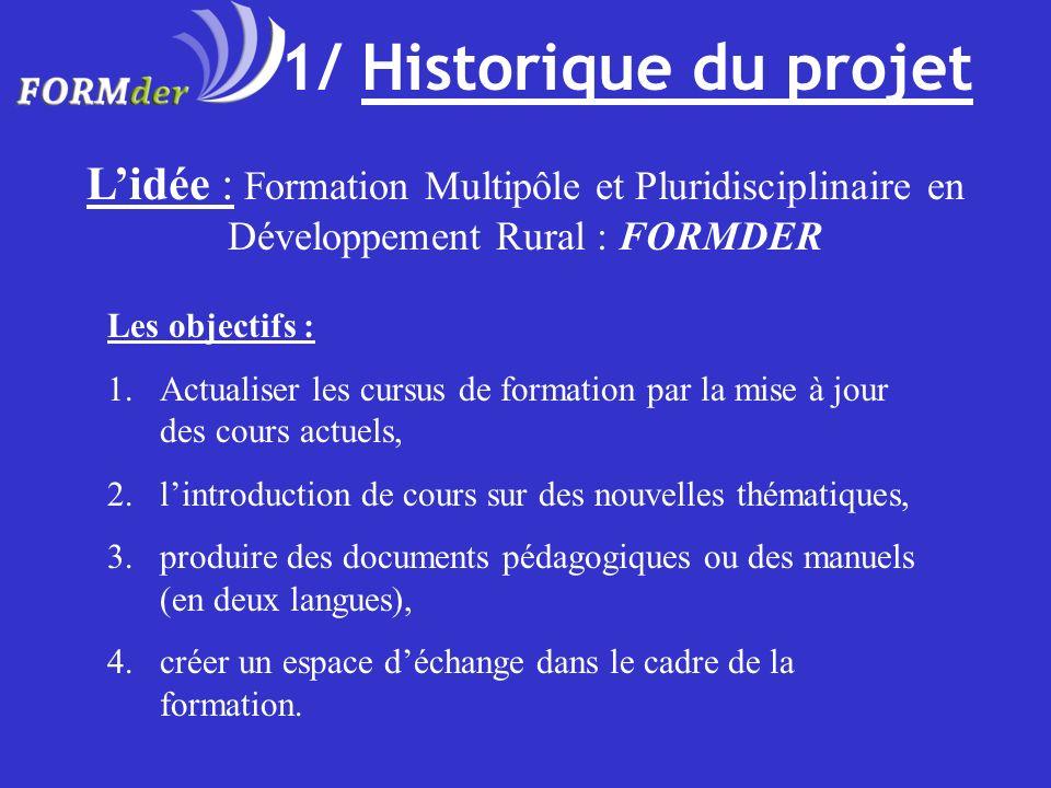 1/ Historique du projet Lidée : Formation Multipôle et Pluridisciplinaire en Développement Rural : FORMDER Les objectifs : 1.Actualiser les cursus de