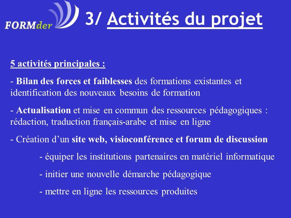 3/ Activités du projet 5 activités principales : - Bilan des forces et faiblesses des formations existantes et identification des nouveaux besoins de