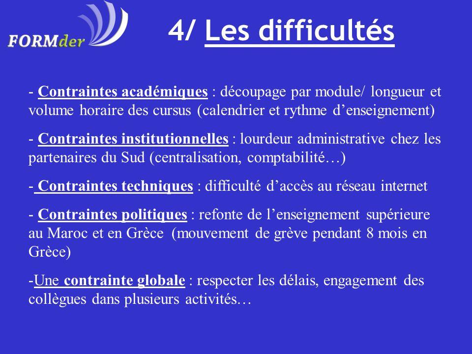 4/ Les difficultés - Contraintes académiques : découpage par module/ longueur et volume horaire des cursus (calendrier et rythme denseignement) - Cont