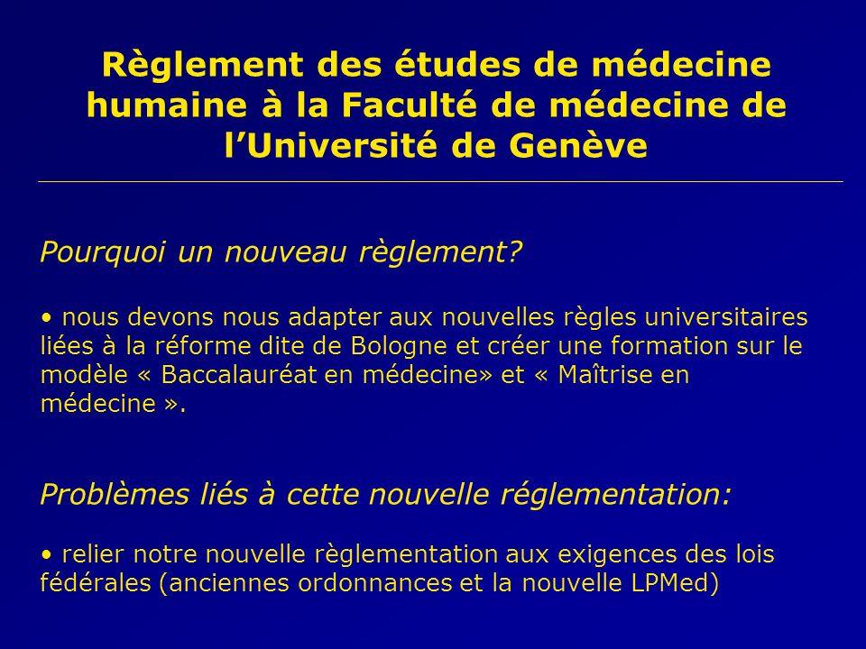 Règlement des études de médecine humaine à la Faculté de médecine de lUniversité de Genève Pourquoi un nouveau règlement? nous devons nous adapter aux