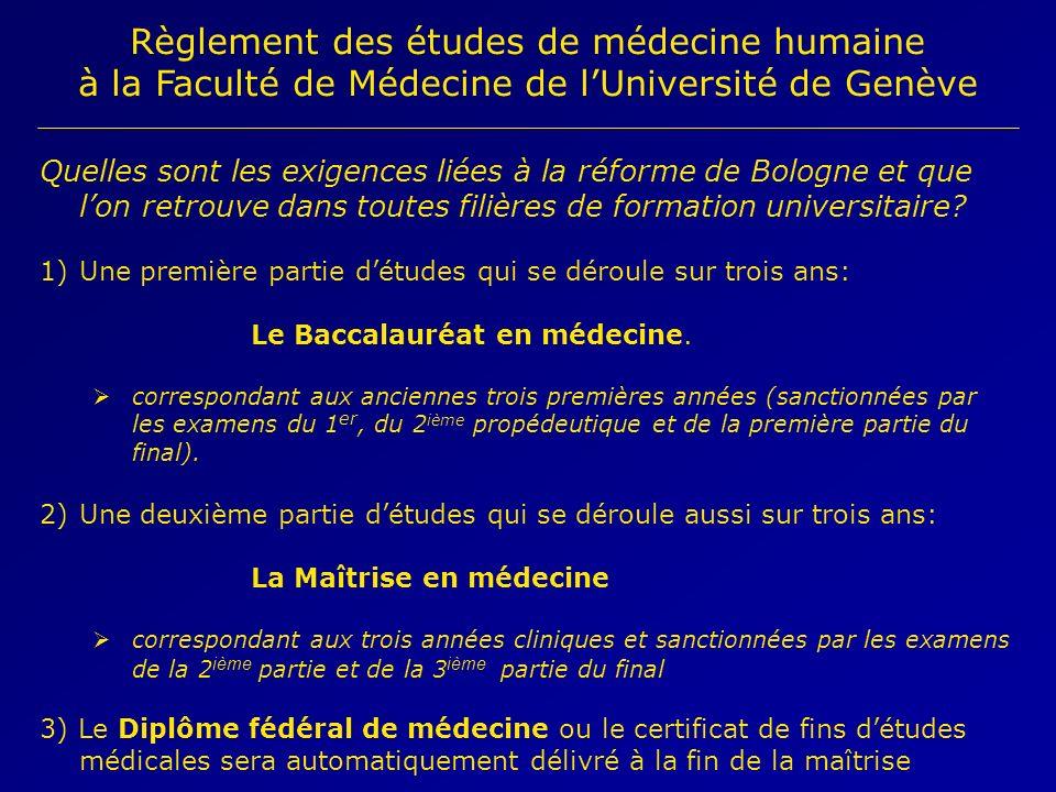 Règlement des études de médecine humaine à la Faculté de Médecine de lUniversité de Genève Quelles sont les exigences liées à la réforme de Bologne et que lon retrouve dans toutes filières de formation universitaire.