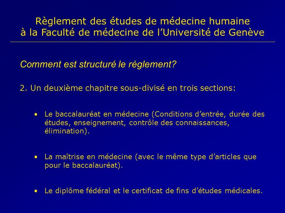Comment est structuré le règlement? 2. Un deuxième chapitre sous-divisé en trois sections: Le baccalauréat en médecine (Conditions dentrée, durée des