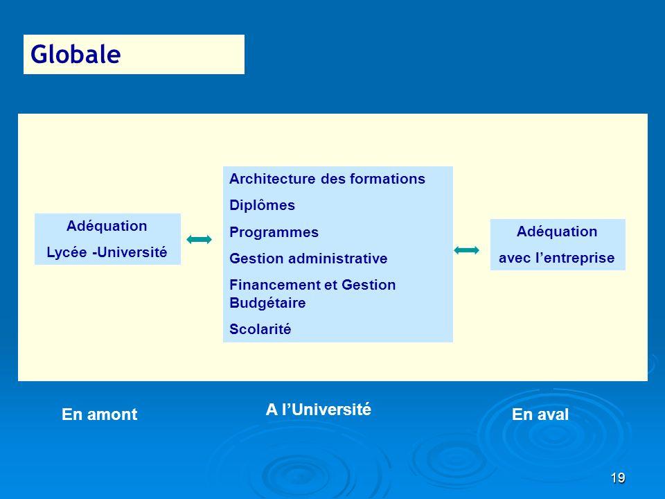 19 Globale Architecture des formations Diplômes Programmes Gestion administrative Financement et Gestion Budgétaire Scolarité Adéquation Lycée -Univer