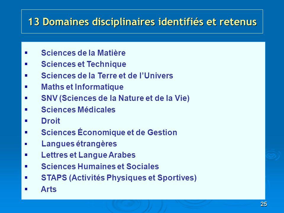 25 13 Domaines disciplinaires identifiés et retenus Sciences de la Matière Sciences et Technique Sciences de la Terre et de lUnivers Maths et Informat