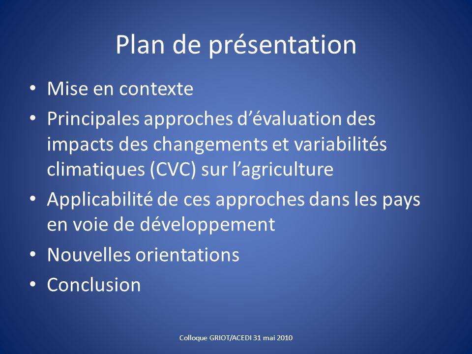 Plan de présentation Mise en contexte Principales approches dévaluation des impacts des changements et variabilités climatiques (CVC) sur lagriculture
