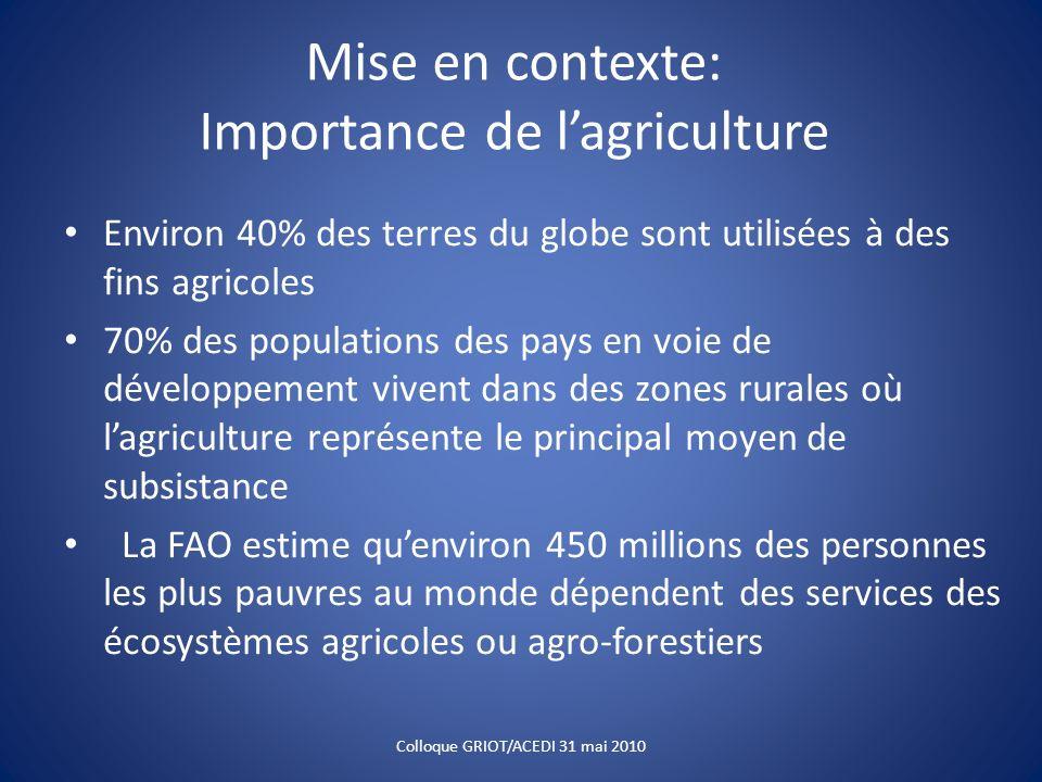 Mise en contexte: Importance de lagriculture Environ 40% des terres du globe sont utilisées à des fins agricoles 70% des populations des pays en voie