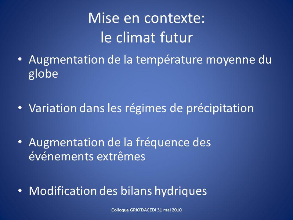 Mise en contexte: le climat futur Augmentation de la température moyenne du globe Variation dans les régimes de précipitation Augmentation de la fréqu