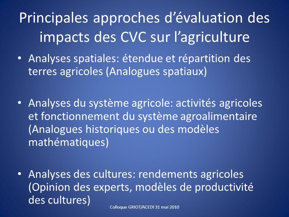 Principales approches dévaluation des impacts des CVC sur lagriculture Analyses spatiales: étendue et répartition des terres agricoles (Analogues spat