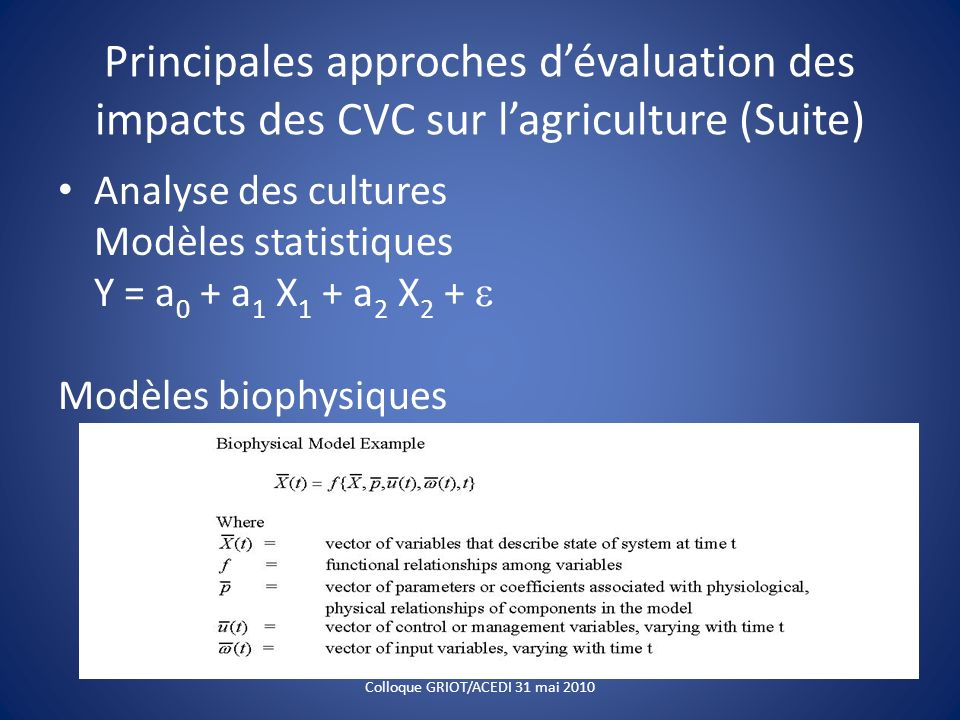 Principales approches dévaluation des impacts des CVC sur lagriculture (Suite) Analyse des cultures Modèles statistiques Y = a 0 + a 1 X 1 + a 2 X 2 +