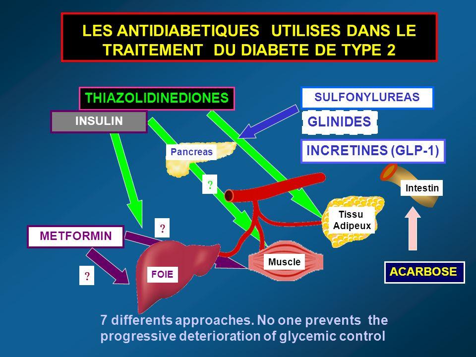 SULFONYLUREAS METFORMIN Tissu Adipeux Muscle FOIE Pancreas LES ANTIDIABETIQUES UTILISES DANS LE TRAITEMENT DU DIABETE DE TYPE 2 THIAZOLIDINEDIONES Intestin ACARBOSE GLINIDES INCRETINES (GLP-1) 7 differents approaches.
