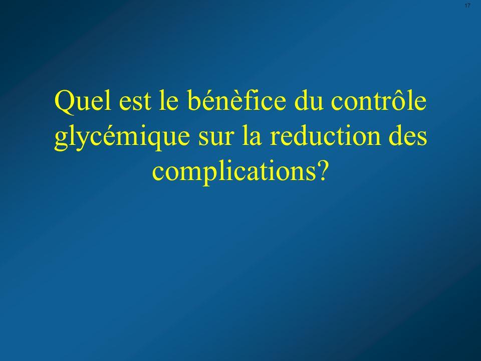 17 Quel est le bénèfice du contrôle glycémique sur la reduction des complications?