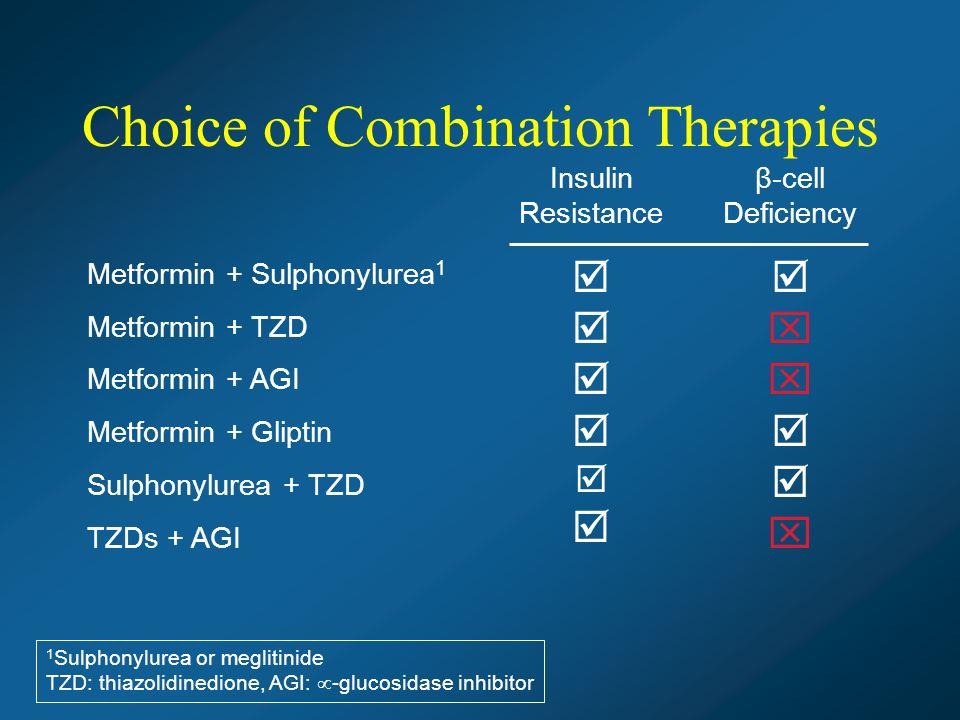 Metformin + Sulphonylurea 1 Metformin + TZD Metformin + AGI Metformin + Gliptin Sulphonylurea + TZD TZDs + AGI 1 Sulphonylurea or meglitinide TZD: thiazolidinedione, AGI: - glucosidase inhibitor Insulin Resistance β-cell Deficiency Choice of Combination Therapies
