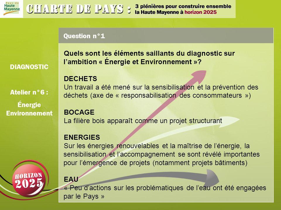 Question n°1 Quels sont les éléments saillants du diagnostic sur lambition « Énergie et Environnement ».