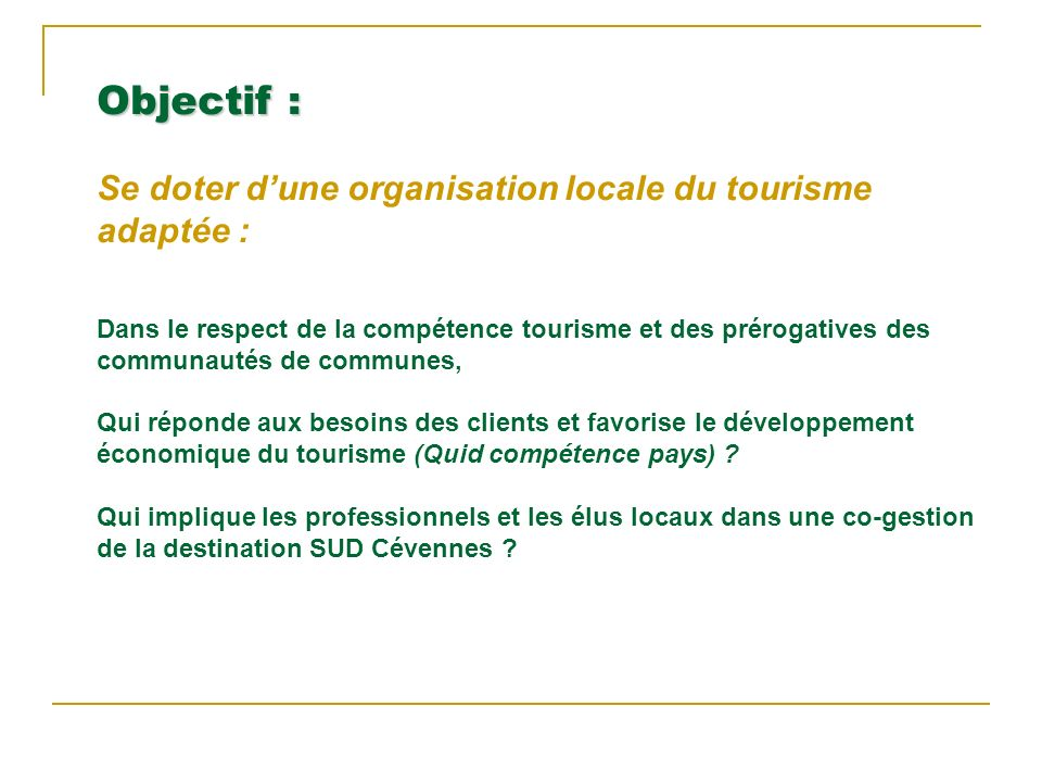 Objectif : Se doter dune organisation locale du tourisme adaptée : Dans le respect de la compétence tourisme et des prérogatives des communautés de communes, Qui réponde aux besoins des clients et favorise le développement économique du tourisme (Quid compétence pays) .