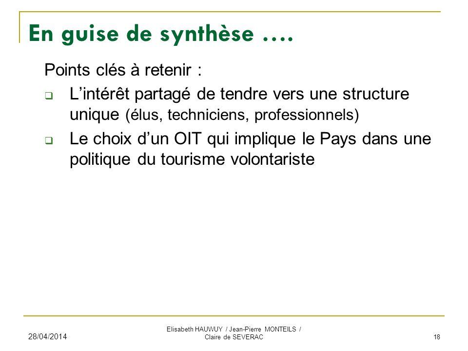 En guise de synthèse …. Points clés à retenir : Lintérêt partagé de tendre vers une structure unique (élus, techniciens, professionnels) Le choix dun
