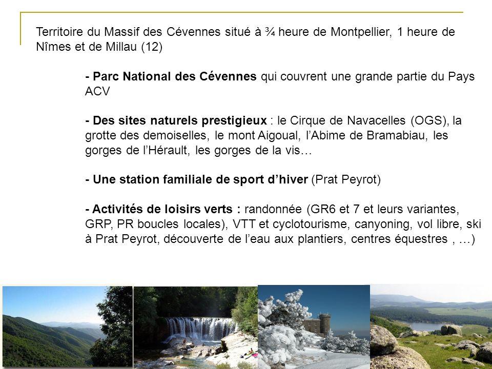 Territoire du Massif des Cévennes situé à ¾ heure de Montpellier, 1 heure de Nîmes et de Millau (12) - Parc National des Cévennes qui couvrent une grande partie du Pays ACV - Des sites naturels prestigieux : le Cirque de Navacelles (OGS), la grotte des demoiselles, le mont Aigoual, lAbime de Bramabiau, les gorges de lHérault, les gorges de la vis… - Une station familiale de sport dhiver (Prat Peyrot) - Activités de loisirs verts : randonnée (GR6 et 7 et leurs variantes, GRP, PR boucles locales), VTT et cyclotourisme, canyoning, vol libre, ski à Prat Peyrot, découverte de leau aux plantiers, centres équestres, …)