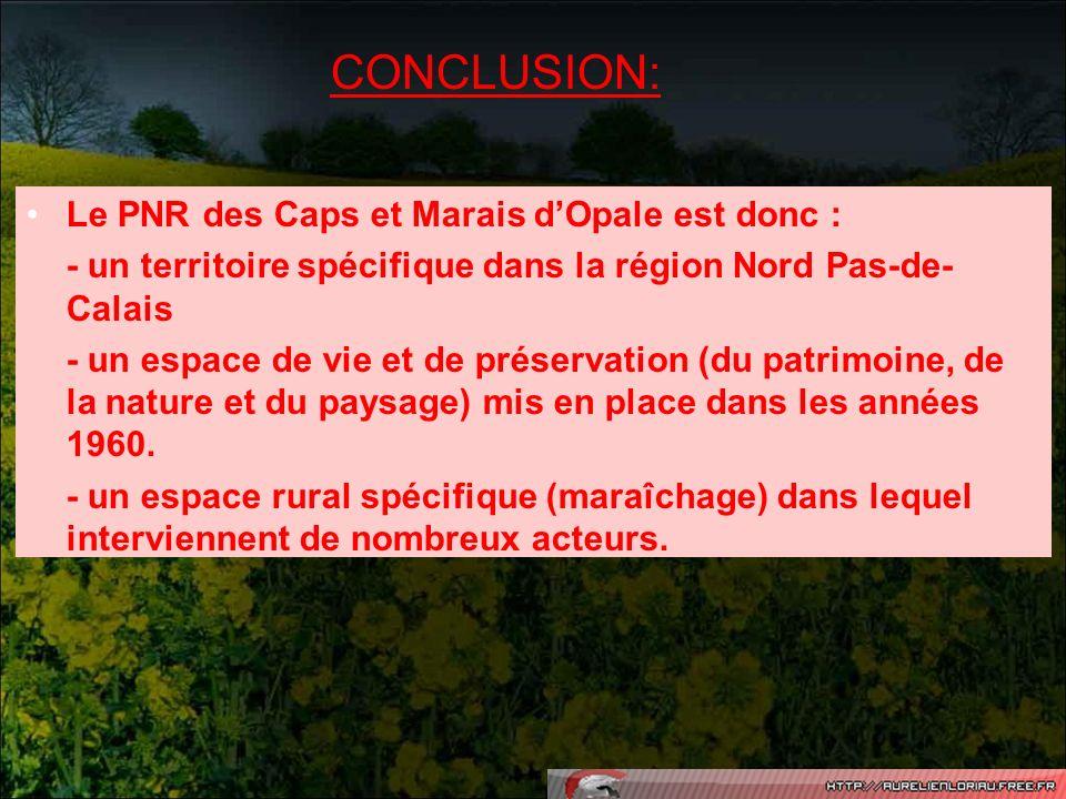 CONCLUSION: Le PNR des Caps et Marais dOpale est donc : - un territoire spécifique dans la région Nord Pas-de- Calais - un espace de vie et de préserv