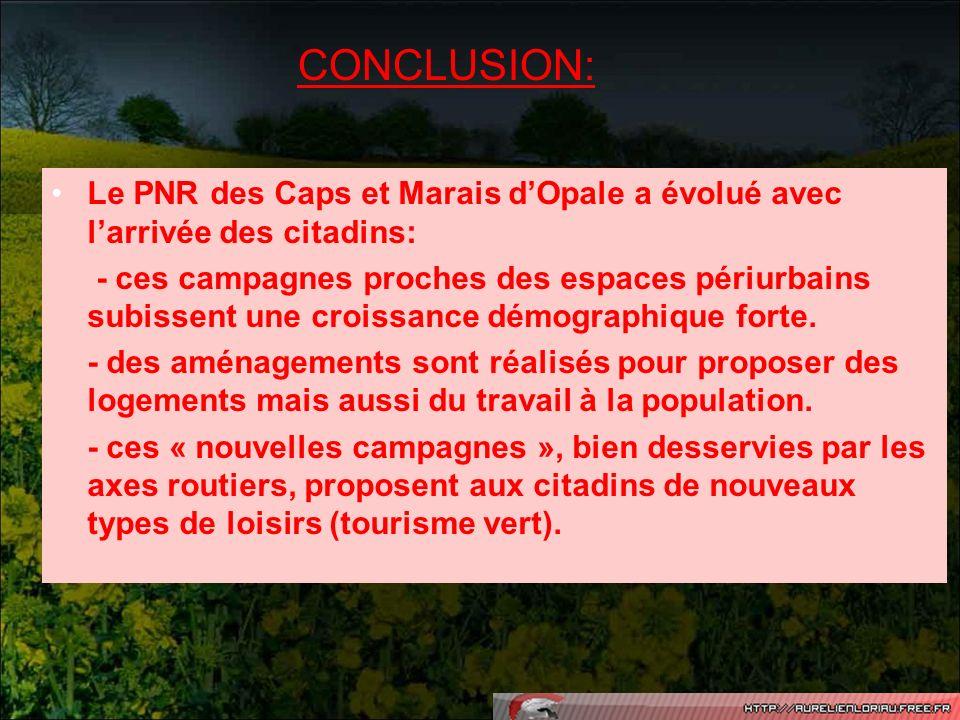 Le PNR des Caps et Marais dOpale a évolué avec larrivée des citadins: - ces campagnes proches des espaces périurbains subissent une croissance démogra