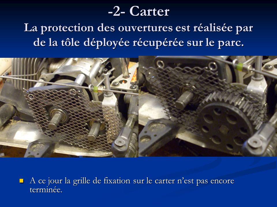 -2- Carter La protection des ouvertures est réalisée par de la tôle déployée récupérée sur le parc. A ce jour la grille de fixation sur le carter nest