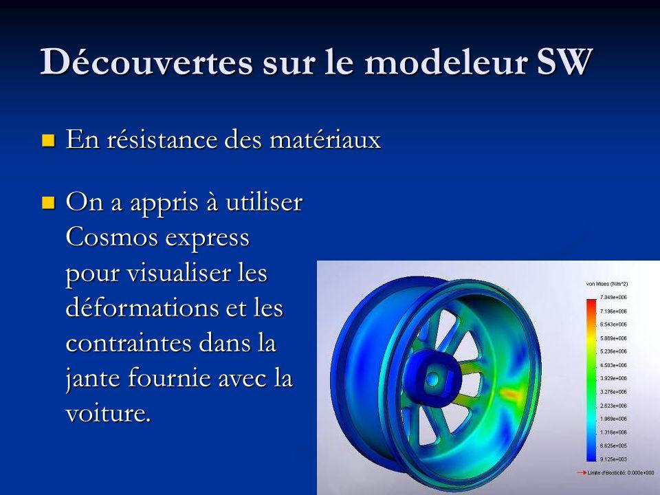 Découvertes sur le modeleur SW En résistance des matériaux En résistance des matériaux On a appris à utiliser Cosmos express pour visualiser les défor
