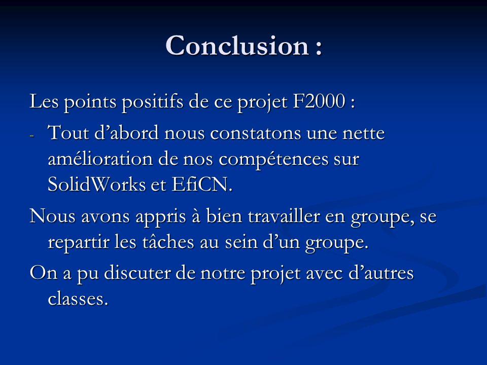 Conclusion : Les points positifs de ce projet F2000 : - Tout dabord nous constatons une nette amélioration de nos compétences sur SolidWorks et EfiCN.