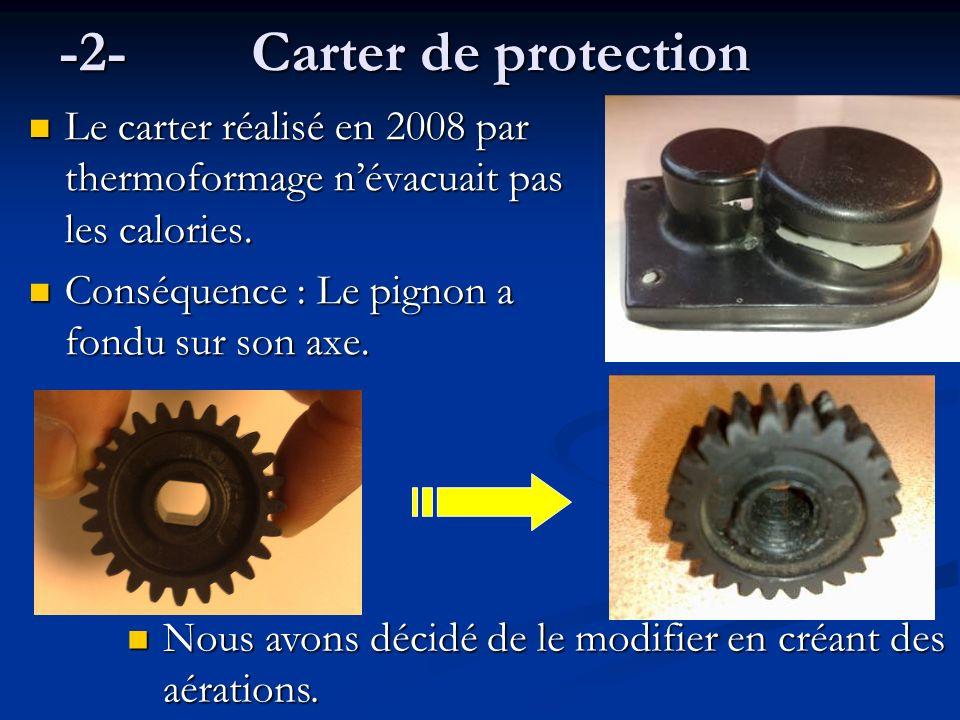 -2-Carter de protection Le carter réalisé en 2008 par thermoformage névacuait pas les calories. Conséquence : Le pignon a fondu sur son axe. Nous avon