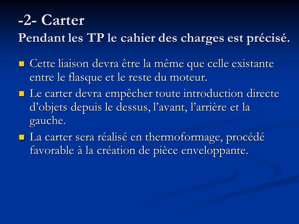 -2- Carter Pendant les TP le cahier des charges est précisé. Cette liaison devra être la même que celle existante entre le flasque et le reste du mote