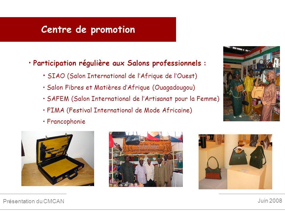 Centre de promotion Participation régulière aux Salons professionnels : SIAO (Salon International de lAfrique de lOuest) Salon Fibres et Matières dAfr